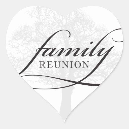 Árbol de la reunión de familia pegatina en forma de corazón