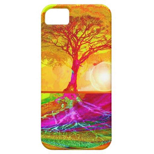 Árbol de la salida del sol de la vida iPhone 5 cárcasas