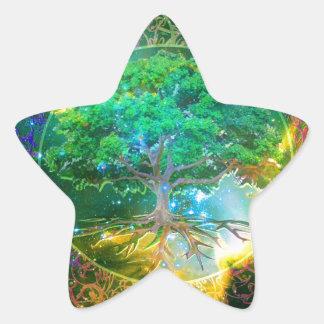 Árbol de la salud de la vida pegatinas forma de estrella