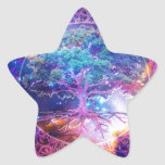 Árbol de la salud de la vida pegatina en forma de estrella
