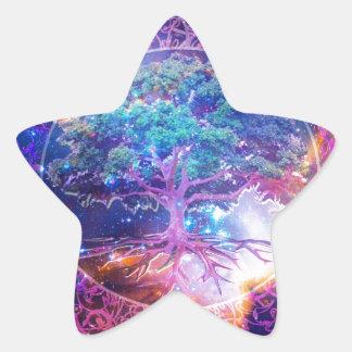 Árbol de la salud de la vida calcomanía forma de estrella personalizada