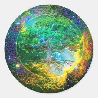 Árbol de la salud de la vida etiqueta redonda