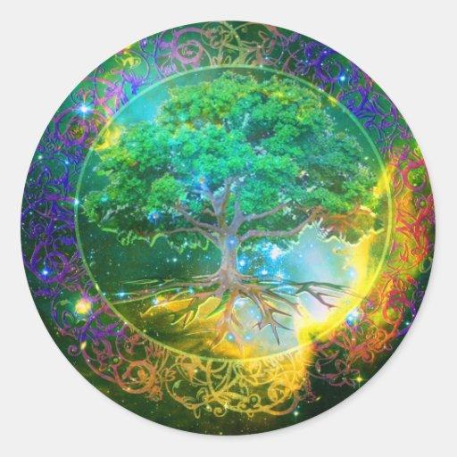 Árbol de la salud de la vida pegatina redonda