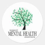 Árbol de la salud mental etiquetas redondas