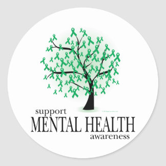 Árbol de la salud mental pegatina redonda