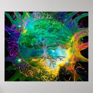 Árbol de la salud y de la vitalidad de la vida póster