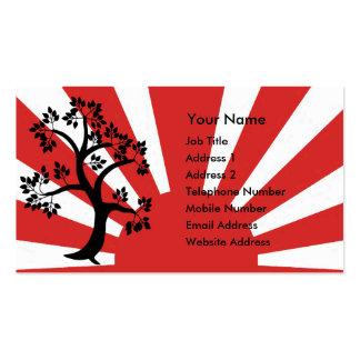 Árbol de la silueta en fondo del sol naciente tarjetas de visita