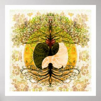 Árbol de la sinceridad de la vida póster