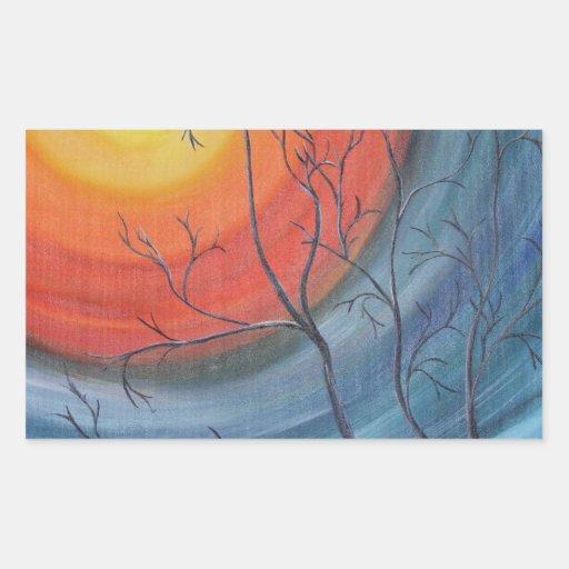 Árbol de la tarde rectangular pegatina