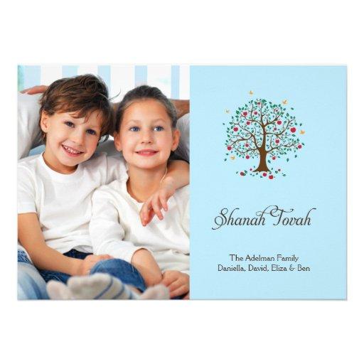 Árbol de la tarjeta de la foto de Rosh Hashanah de Comunicados Personales