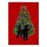 Árbol de la tarjeta de Navidad del caniche