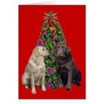 Árbol de la tarjeta de Navidad del labrador retrie