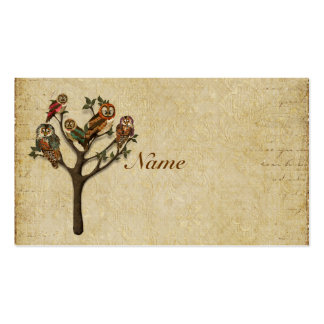 Árbol de la tarjeta de visita de los búhos/de
