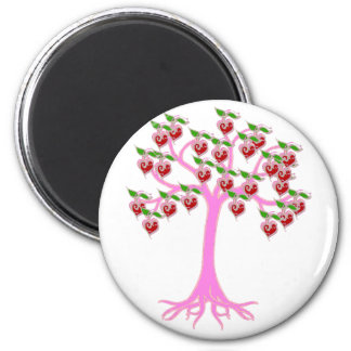 Árbol de la tarjeta del día de San Valentín Imán Redondo 5 Cm
