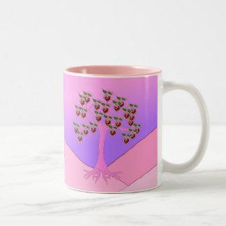 Árbol de la tarjeta del día de San Valentín Taza
