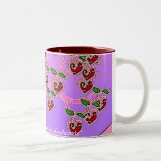 Árbol de la tarjeta del día de San Valentín Taza De Café