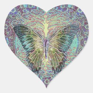 Árbol de la tienda de la vida pegatina en forma de corazón