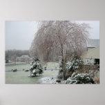 Árbol de la tormenta de hielo del invierno poster