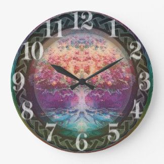 Árbol de la tranquilidad de la vida en colores del reloj redondo grande