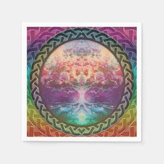 Árbol de la tranquilidad de la vida en colores del servilletas desechables