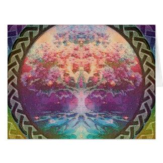 Árbol de la tranquilidad de la vida en colores del tarjeta de felicitación grande