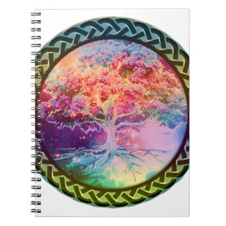 Árbol de la tranquilidad de la vida libretas espirales