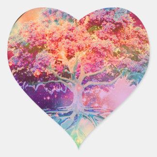 Árbol de la tranquilidad de la vida calcomania corazon