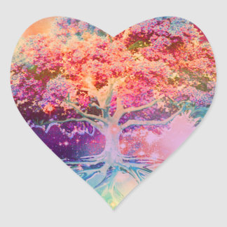 Árbol de la tranquilidad de la vida pegatina en forma de corazón