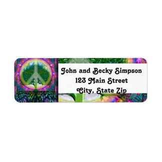 Árbol de la unidad y de la paz de la vida etiqueta de remite