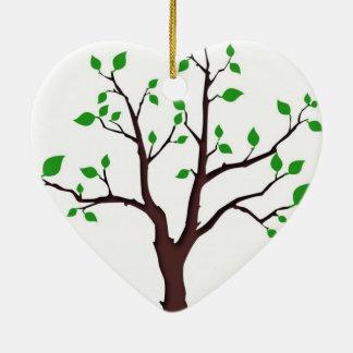 Árbol de la vida adorno navideño de cerámica en forma de corazón