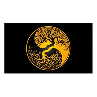 Árbol de la vida amarillo y negro Yin Yang Tarjetas De Visita
