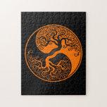 Árbol de la vida anaranjado y negro Yin Yang Rompecabeza Con Fotos
