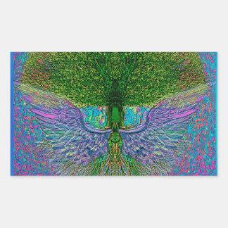 Árbol de la vida angelical rectangular pegatinas