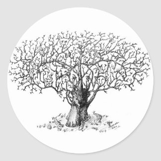 Árbol de la vida - animales pegatina redonda