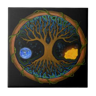 Árbol de la vida astral azulejo cuadrado pequeño