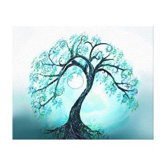Árbol de la vida azul agraciado con la luna impresiones en lienzo estiradas
