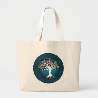 Árbol de la vida azul bolsas de mano