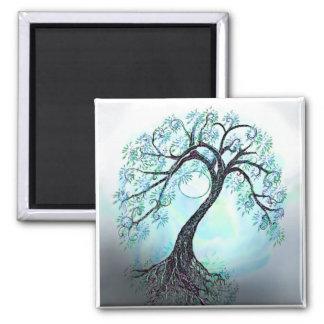 ¡Árbol de la vida azul elegante - ahorre la fecha! Imán Cuadrado
