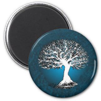 Árbol de la vida azul imán redondo 5 cm