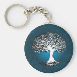 Árbol de la vida azul llavero redondo tipo pin
