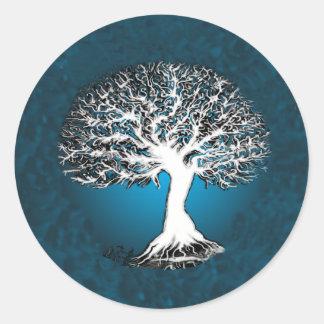Árbol de la vida azul pegatina redonda
