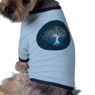 Árbol de la vida azul camiseta con mangas para perro