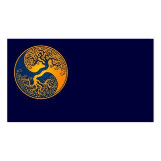 Árbol de la vida azul y amarillo Yin Yang Tarjetas De Visita