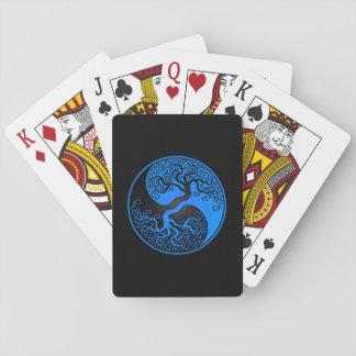 Árbol de la vida azul y negro Yin Yang Baraja De Póquer