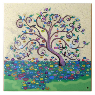 Árbol de la vida azulejo cuadrado grande