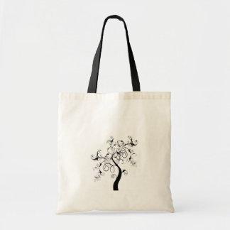 Árbol de la vida blanco y negro bolsas de mano