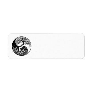 Árbol de la vida blanco y negro Yin Yang Etiquetas De Remite