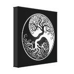 Árbol de la vida blanco y negro Yin Yang Impresión De Lienzo