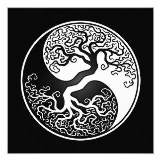 Árbol de la vida blanco y negro Yin Yang Comunicado Personalizado