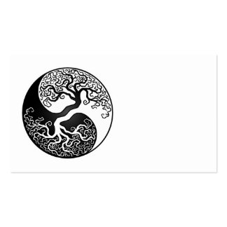 Árbol de la vida blanco y negro Yin Yang Tarjetas De Visita